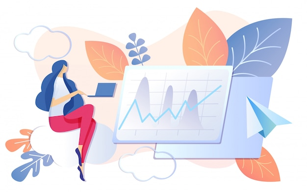 Vrouw die aan notebook werkt financiële grafiek groeit