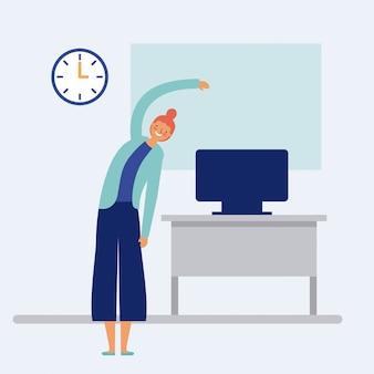 Vrouw die actieve pauze op kantoor met bureau en computer doen, vlakke stijl