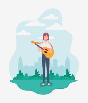 Vrouw die akoestisch gitaarkarakter speelt