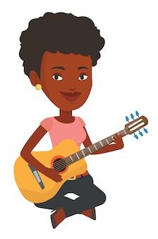 Vrouw die akoestische gitaar vectorillustratie speelt.