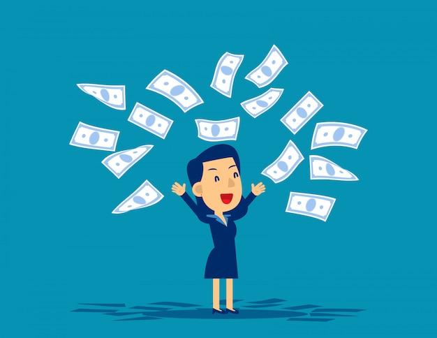 Vrouw die bankbiljetten in verrukking werpt