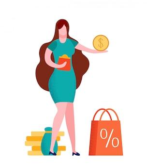 Vrouw die betalings vlakke vectorillustratie