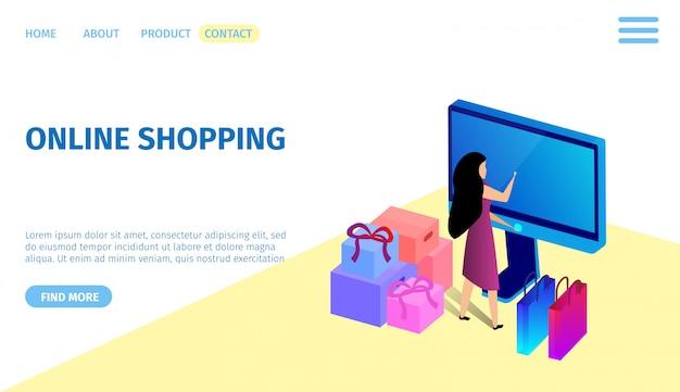 Vrouw die bij reusachtige computermonitor winkelen. aankopen
