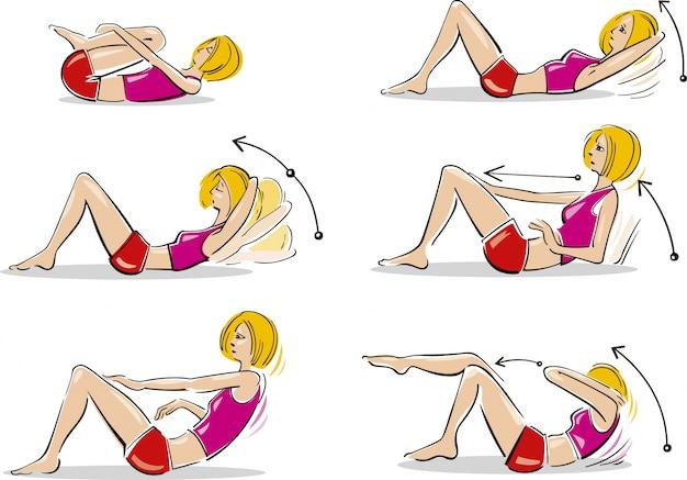 Vrouw die buikoefeningen doet