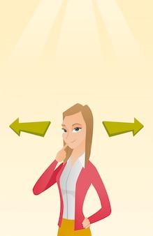 Vrouw die carrièremanier of bedrijfsoplossing kiest.