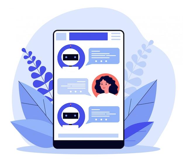 Vrouw die chatbot raadpleegt