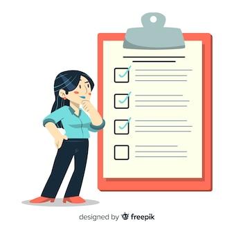 Vrouw die controlelijstillustratie analyseren