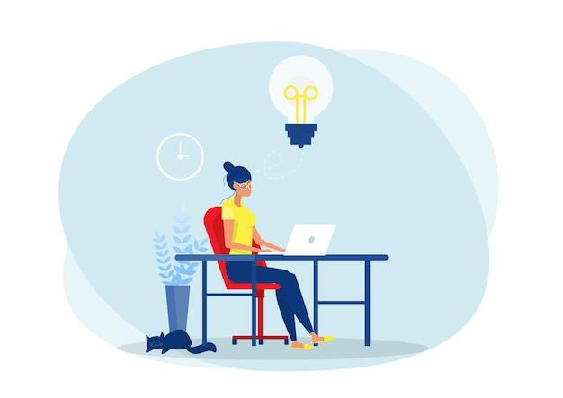 Vrouw die creatief met computer op tafel in de kamer werkt