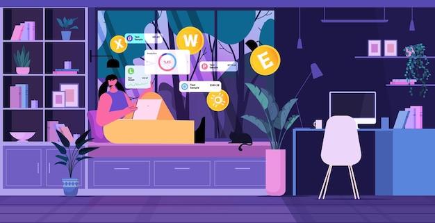 Vrouw die cryptocurrency-mijntoepassing gebruikt op laptop virtuele geldoverdracht app banktransactie digitale valuta concept woonkamer interieur horizontaal volledige lengte vectorillustratie