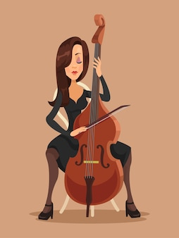 Vrouw die de cello speelt, platte vectorillustratie