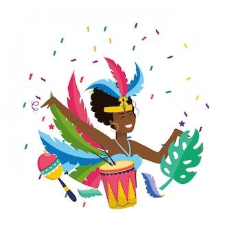 Vrouw die de vectorillustratie van carnaval van brazilië vieren