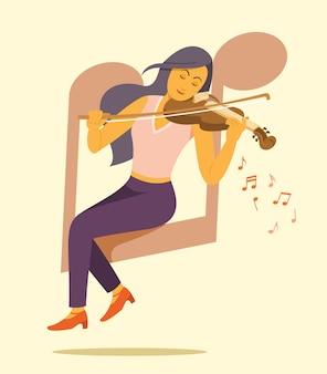 Vrouw die de vioolillustratie speelt