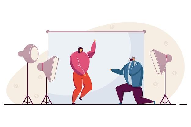 Vrouw die deelneemt aan fotosessie. platte vectorillustratie. meisje foto's maken met professionele fotograaf in studio. fotografie, zaken, creativiteit, werkconcept voor bannerontwerp