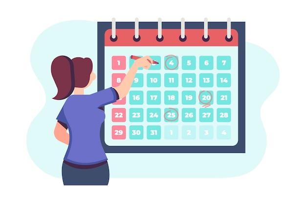 Vrouw die een afspraak op kalender boekt