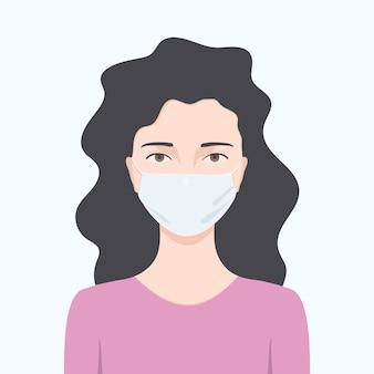 Vrouw die een beschermend masker draagt