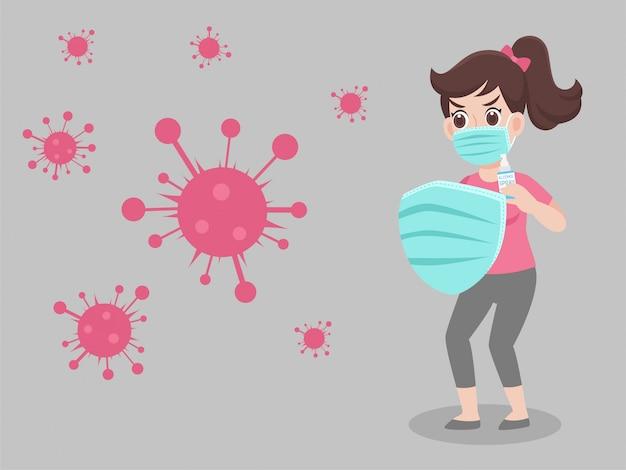 Vrouw die een chirurgisch beschermend medisch masker draagt voor verhindert virus