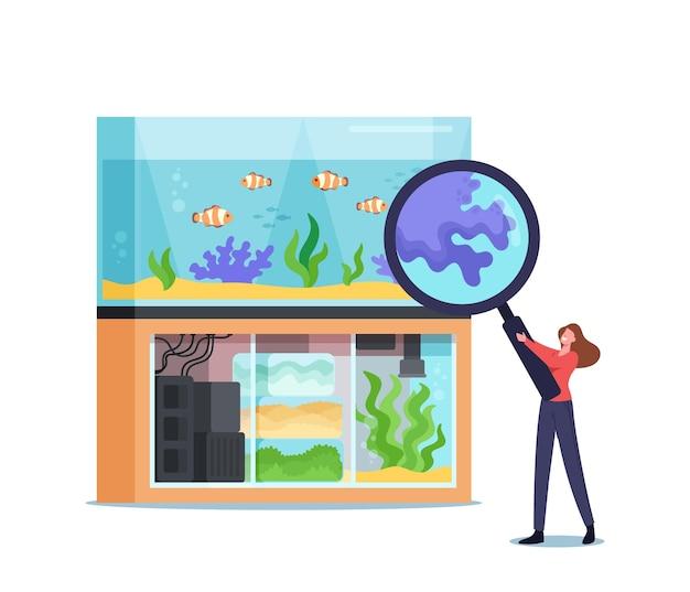 Vrouw die een dierenwinkel bezoekt voor het kiezen en kopen van aquariumspullen, voer voor vissen. klein vrouwelijk personage op zoo market kijk naar tropische vissen door een enorm vergrootglas. cartoon vectorillustratie