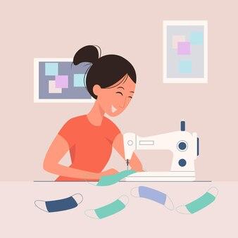 Vrouw die een eigengemaakt medisch masker maakt