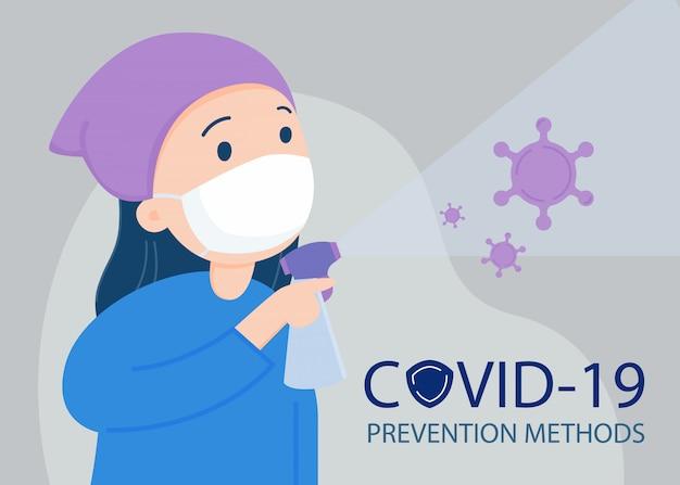 Vrouw die een gezichtsmasker draagt, dat met alcoholnevel zuivert. covid -19-preventie.