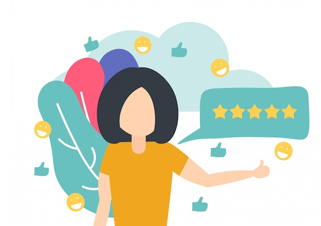 Vrouw die een goede recensie achterlaat voor online product