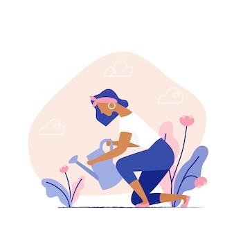 Vrouw die een installatie water geeft. vrouwelijk karakter tuinieren planten op de achtertuin. zomer tuinieren, boer tuinman. platte vectorillustratie