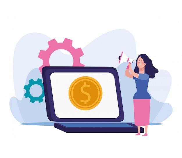 Vrouw die een megafoon en laptop computer met het pictogram van het geldmuntstuk op het scherm met behulp van