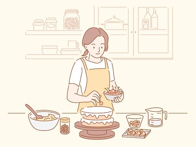Vrouw die een verjaardagstaart maakt in de keuken, hand getrokken lijnstijl