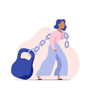 Vrouw die een zwaargewicht op een ketting trekt. concept van de zware sociale belasting van een vrouw. vrouw met enorm gewicht. bedrijfsvrouw die met hypotheek worstelt.