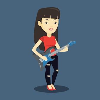 Vrouw die elektrische gitaarillustratie speelt.