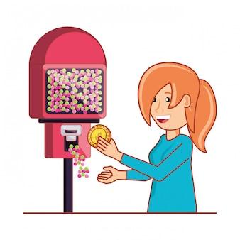Vrouw die elektronische automaatmachine met behulp van