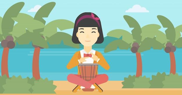 Vrouw die etnische trommel vectorillustratie speelt.