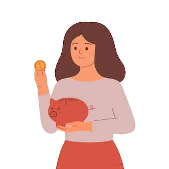 Vrouw die geld bespaart in spaarvarken. concept geldbesparingen en investeringen. illustratie