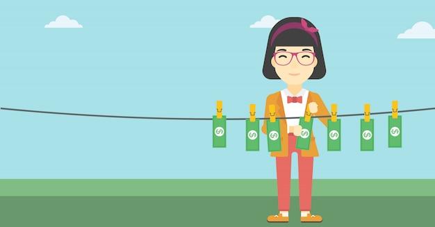 Vrouw die geld vectorillustratie liften.