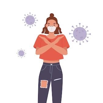 Vrouw die gezichtsmasker draagt. jonge vrouw met gekruiste armen gebaar. stop pandemisch concept. illustratie in een vlakke stijl