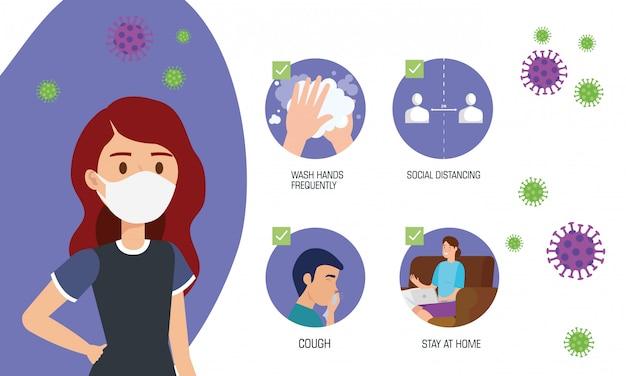Vrouw die gezichtsmasker gebruikt voor covid19 pandemie
