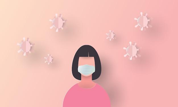 Vrouw die gezichtsmaskerstrijd tegen covid-19, medische coronavirusuitbraak draagt