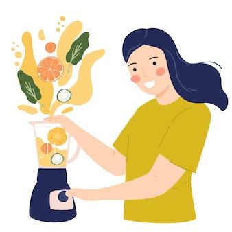 Vrouw die gezond sap maakt vlakke afbeelding