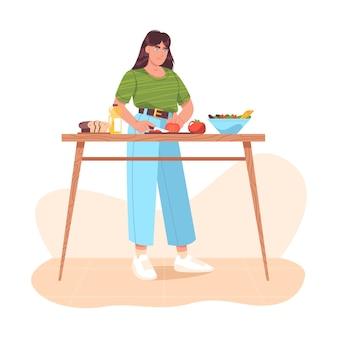 Vrouw die gezond voedsel voorbereidt, verse groenten snijdt. zelfgemaakte maaltijden op de keukentafel thuis. meisje dat groentesalade kookt, tomaten snijdt. vegetarische keuken. platte cartoon vectorillustratie.