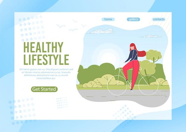Vrouw die gezonde en actieve levensstijlbanner leidt.