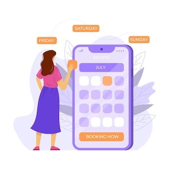 Vrouw die haar boeking van de data afspraak kiest