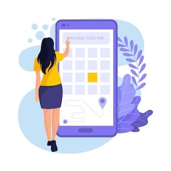 Vrouw die haar data-afspraakreservering plaatst