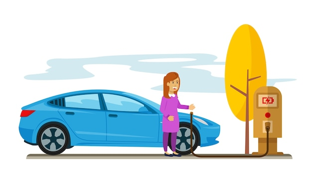 Vrouw die haar elektrische auto laadt op de parkeerplaats