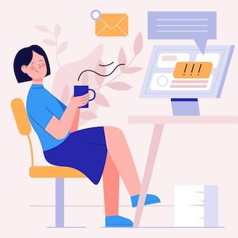 Vrouw die haar koffie drinkt en de e-mails negeert