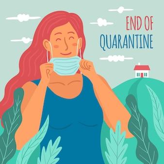 Vrouw die haar maskereinde van quarantaine opstijgt
