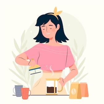 Vrouw die heerlijke koffie maakt