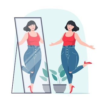 Vrouw die het concept van het gevoel van eigenwaarde van de spiegel onderzoekt