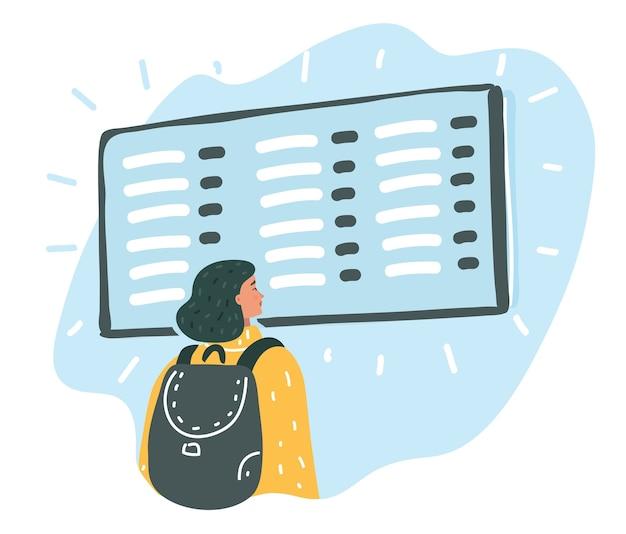 Vrouw die het vluchtinformatiebord bekijkt