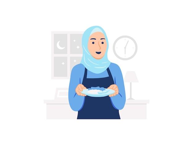 Vrouw die hijab en schort draagt die een bord met voedsel houdt suhoor of iftar tijd ramadan kareem vasten concept illustratie