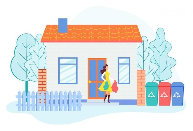 Vrouw die huis met huisvuil verlaten voor het werpen.