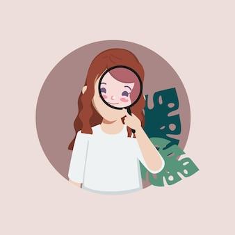 Vrouw die iets met een vergrootglas vindt het inhuren van baanconcept